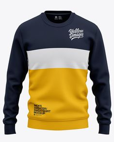 Men's Sweatshirt Mockup - Front View Of Sweater in Apparel Mockups on Yellow Images Object Mockups Casual Shirts, Casual Clothes, Designer Clothes For Men, Hoodie Outfit, Mens Clothing Styles, Mens Sweatshirts, Men Sweater, Sweater Hoodie, Shirt Designs