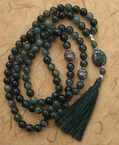 99 Moss agate Sufi Islamic prayer beads meditation by BariBazaar £36