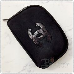 e11c23a4d83d CHANEL Beaute Small Cosmetic Pouch with Black Sequin VIP Gift #CHANEL