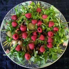 "Balsamic Raspberry Arugula Salad - Vegan! 5.00 stars, 3 reviews. ""Great summer salad!!"" @allthecooks #recipe #salad #cold #healthy #easy #vegetarian"