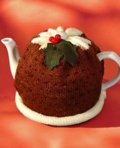 A Christmas-pudding tea cosy for seasonal tea.
