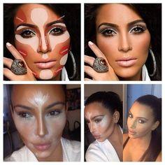 Kim Kardashian Makeup Secrets... I have never contour before, but it looks quite pretty ;)
