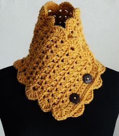 Cuello cruzado color  Camel, crochet