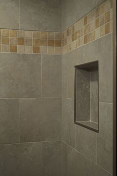 CMH Builders Shampoo niche with metal trim