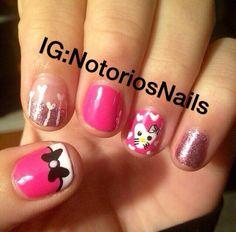 Hello kitty Vday nails❤️ nails by me!