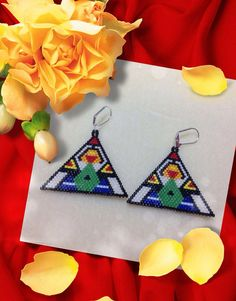 Triangle Beaded Earring  The Thinker by Bead4Fun on Etsy, $45.00