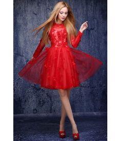 A-line Scoop Short/Mini Tulle Bridesmaid Dresses with Appliques Sequin Tulle Bridesmaid Dress, Sequins, Dresses With Sleeves, Formal Dresses, Long Sleeve, Appliques, Wedding Ideas, Mini, Fashion