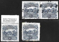 USA Scott #2590 - $1 Burgoyne Surrender, 4 stamps pair and  singles Used, Unused