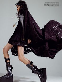 Damir Doma Women's Autumn Winter 2012-13 jacquard cape and cross pendant featured in Vogue Türkiye.