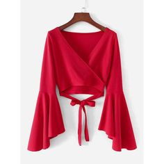 Young Elegant Plain Wrap Top Slim Fit V Neck Long Sleeve Flounce Sleeve Red Crop Length Bell Sleeve Knotted Hem Surplice Blouse