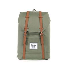 Herschel Retreat Backpack<p>Deep Lichen Green/Tan Synthetic Leather