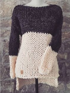 96b7d4937a Two Tone Tunic Chunky knit sweater color block by rustiknits Hand Knitted  Sweaters