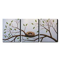 Nest in the Tree Oil Painting - Set of 3 - Free Shipping