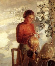 """""""Two Girls at the Sewing Lesson"""" -- Anna Ancher (1859 – 1935, Danish)"""