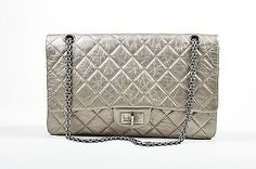 "Chanel $6000 Metallic Silver Leather ""2.55 Reissue 227"" Quilted Jumbo Flap Bag"