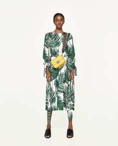 Image 1 of PRINTED MIDI DRESS from Zara  love this print but could be crazy in person and needs the right body type/skin tone