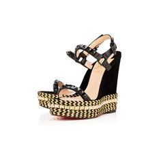 """cataclou"" louboutin black gold studs wedges"