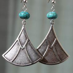 Dangle Silver  earrings  Turquoise Earrings  by LeBouiBouiaBouBou, $24.00