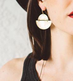 Eclipse brass moon earrings