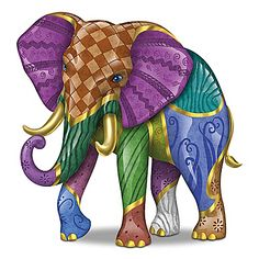 Triumphant Tapestry Figurine A FIRST! Limited-edition figurine inspired by Keith Mallett artworks. Handcrafted and hand-painted in bold patterns with rich colors, golden accents. Colorful Elephant, Elephant Love, Elephant Gun, Vintage Elephant, Elephant Artwork, Elephant Illustration, Elephant Figurines, Indian Elephant, Patchwork Patterns
