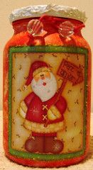 Vidro de conserva Papai Noel (Valria Honorato Arts & Crafts) Tags: vidro natal fuxico reciclagem garrafa pintura lata decoupage agulheiro filtrodecaf