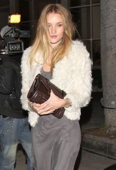 Rosie Huntington-Whiteley Buckled Clutch - Rosie Huntington-Whiteley paired a buckled brown clutch with a white fur jacket for a night out in Beverly Hills.