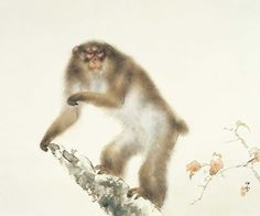 Old Monkey with Cherry in Autumn - Kansetsu Hashimoto