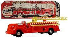 c.1949 Marx, Friction Motor Fire Truck w/Siren and Aerial Ladders (Factory Sample)