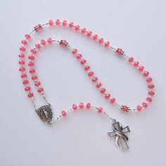 Swarovski Roundelle Rosary Peachy-Pink by NoeliasJewelryDesign, $100.00