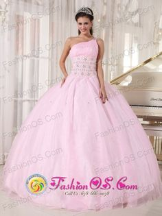 Baby Pink One Shoulder Wholesale  Beading Tulle Ball Gown For Sweet 16 In Asuncion Paraguay Style PDZY751FOR