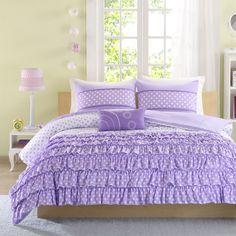4-Piece Girls Comforter Set Purple Full/Queen Size Kids Teen Bedding Modern  #Modern
