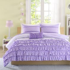 4-Piece Girls Comforter Set Purple Full/Queen Size Kids Teen Bedding Modern  #Modern