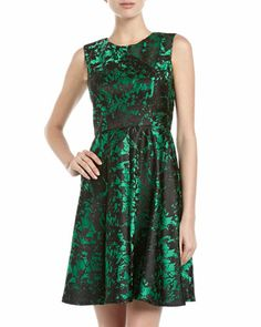 Sleeveless Brocade Fit-and-Flare Dress, Emerald by Ivy & Blu at Neiman Marcus Last Call.