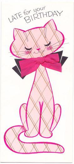 Pink Pussycat vintage Belated Happy Birthday greeting card