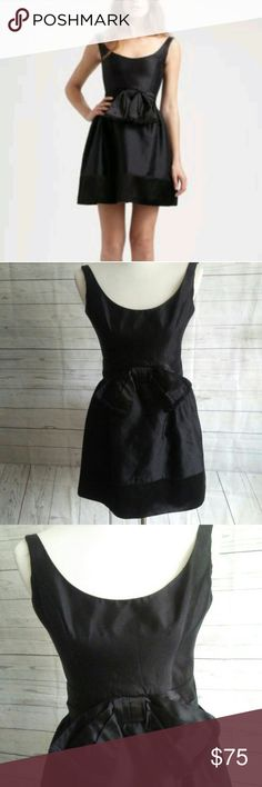 "Milly Little Black Dress Milly Of New York Mini Dress Black Sleeveless Flare with Front Bow  Size 0 Fully Lined 58% Cotton 42% Silk Chest 17"" Length 30"" waist 26"" Good Used condition Milly Dresses Mini"