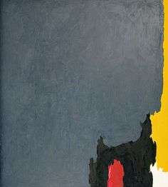 Clyfford STILL, 1952-no.2.  Still, more than other members of the New York School, attempted to purge his work of literary allusions and overt graphic symbols, preferring to stress the elements of painting—colour, shape, size—and their formal relationships as his subject-matter.  Stripped of conventional associations, he hoped the elements in his paintings could be as pure and abstract as musical notes, and indeed he compared his paintings to orchestral compositions.