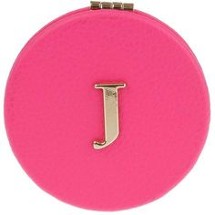 Miss Selfridge J' Initial Compact Mirror ($10) ❤ liked on Polyvore featuring beauty products, beauty accessories, cosmetics, pink and miss selfridge