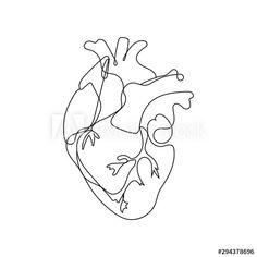 Line Drawing Tattoos, Line Tattoos, Tattoo Drawings, Small Tattoos, Art Drawings, Contour Drawings, Animal Line Drawings, Simple Line Drawings, Drawing Heart