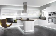Interior Design, Stil, Haus, Zimmer, weiße minimalistische Küche mit modernen Kabinett Vektorgrafik