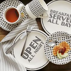 City Diner Salad Plate Set - Open All Night - Breakfast Served All Day   West Elm