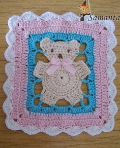 Crochet Bear Motif-no pattern but experienced crocheter could probably figure out how to do this. Baby Afghan Crochet, Crochet Granny, Filet Crochet, Crochet Motif, Crochet Stitches, Knit Crochet, Crochet Patterns, Crochet Teddy, Baby Afghans