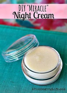 """DIY """"Miracle"""" Night Cream Recipe (Super Moisturizing). ◾1/2 tsp beeswax ◾1 tsp coconut oil ◾2 tbs almond oil ◾1/2 tsp of shea butter (or you can just use more coconut oil) ◾1 tsp vitamin E oil ◾1/4 cup aloe vera gel ◾1 tsp honey (Try to get some local honey if possible) ◾1/2 tsp bentonite clay ◾5-10 drops lemon essential oil by Fee B"""