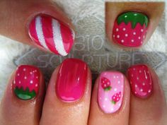 Strawberry Mix: This nail design is decoratively done with a strawberry theme that's unique to each finger nail. It is a pretty picture of art in its blissful form. The various shades of pink together with white stripes and dots and a dark green leaf base in a highly glazed texture gives the nails an awe-inspiring look.