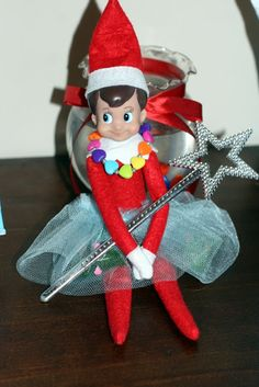 My daughter loves to play dress-up so Freddie decided to play with her....Invite and Delight: Elf on the Shelf Ideas