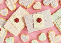 Love Letter & Scripted Heart Cookies. These are so stinkin' cute!