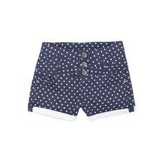 Navy Dot High Waist Short ($25) ❤ liked on Polyvore