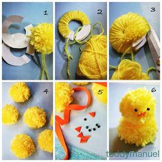 How to make pompom chicks for Easter centerpiece.