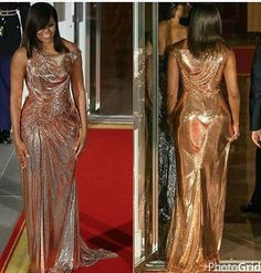 #FirstLady Of The United States #MichelleObama #14th & #Last #StateDinner First Lady Michelle Obama Wearing #Chainmail #Versace #Gown At Her Last State Dinner #October18th #2016