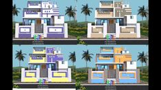 Village House Design, Village Houses, Outside House Colors, Modern Small House Design, India House, Front Elevation Designs, House Painting, Paint Colors, Exterior