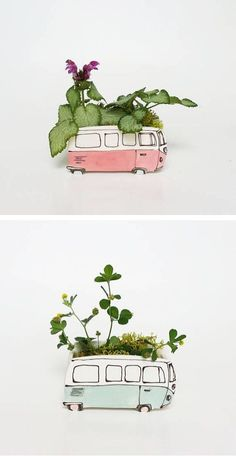 Simply Sweet Classic Car-Inspired Ceramic Planters Adorable and nostalgic, ceramicist Julie Richard's handcrafted creations are simply sweet. From a VW Westfalia to a classic car—everyones. Ceramic Pottery, Ceramic Art, Indoor Garden, Indoor Plants, Moodboard Interior, Cerámica Ideas, Ceramic Planters, Clay Projects, Clay Art